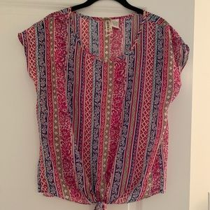 Mimi Chica Printed Tie Top